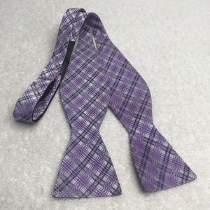 Jos A Bank purple plaid silk blend bow tie